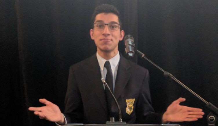 Zaki Lakhani '20 competes at the World's Individual Speech and Debate championships